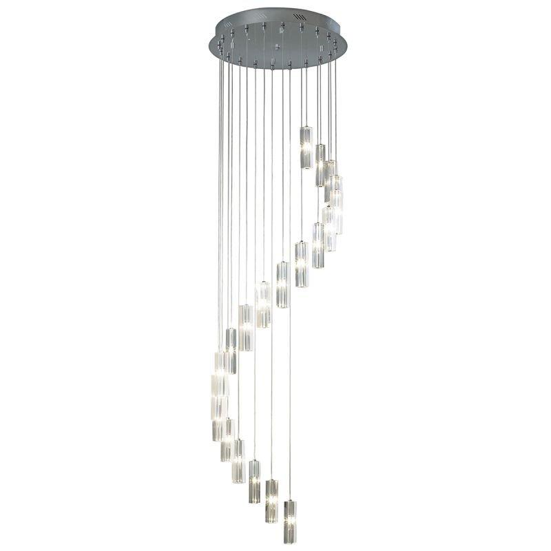 Dar-GAL3350-LED - Galileo - Crystal Block with Chrome 20 Light Ceiling Lamp