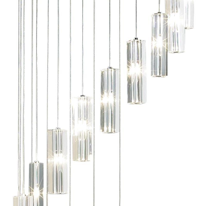 Dar-GAL6350-LED - Galileo - Crystal Block with Chrome 20 Light Ceiling Lamp