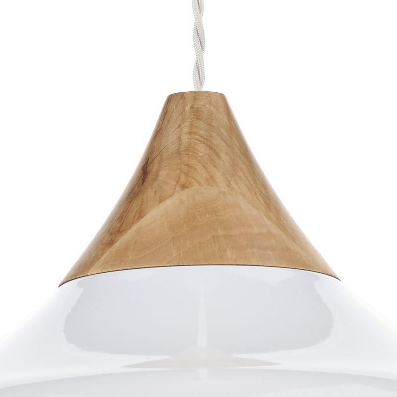 Dar-GAU0102 - Gaucho - Small White Metal Shade with Wood Pendant
