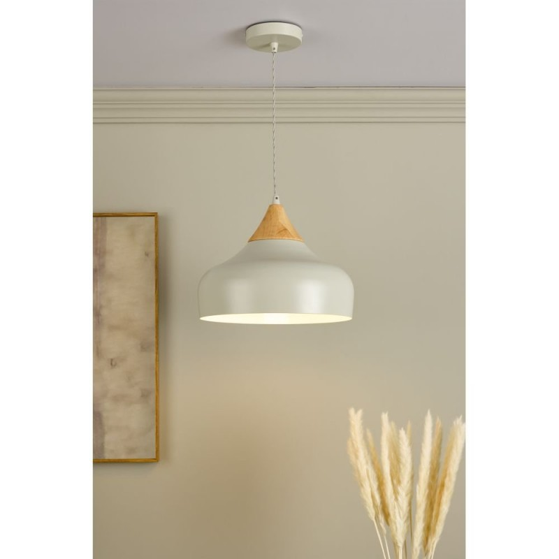 Dar-GAU0139 - Gaucho - Small Grey Shade with Wood Pendant