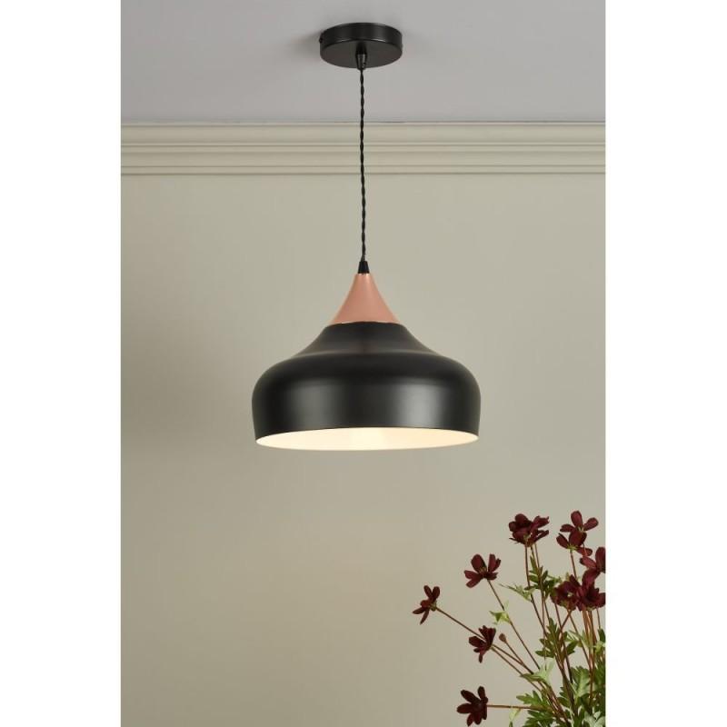 Dar-GAU0164 - Gaucho - Small Black Shade with Copper Pendant