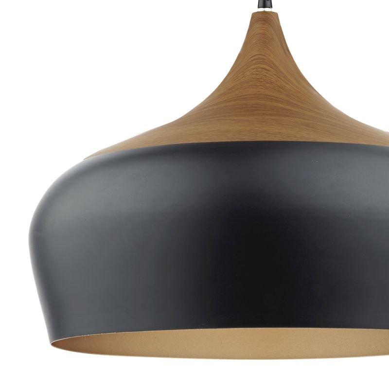 Dar-GAU8622 - Gaucho - Big Black and Gold Shade with Wood Pendant