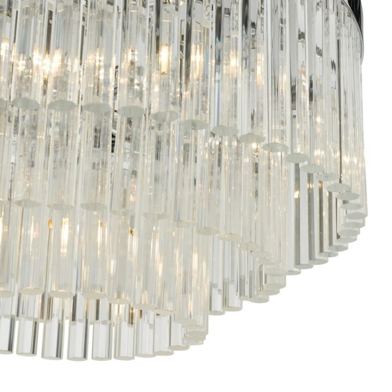 Dar-GIO0508 - Giovana - Clear Glass Rods & Chrome 5 Light Chandelier
