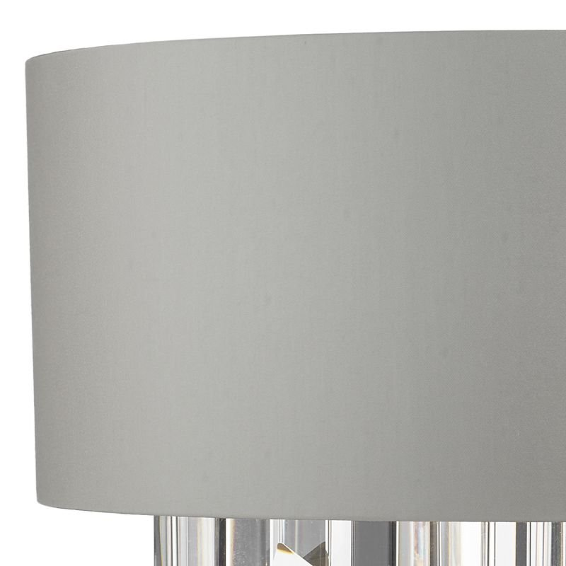 Dar-HAL0939 - Halle - Grey Fabric with Crystal 2 Light Wall Lamp