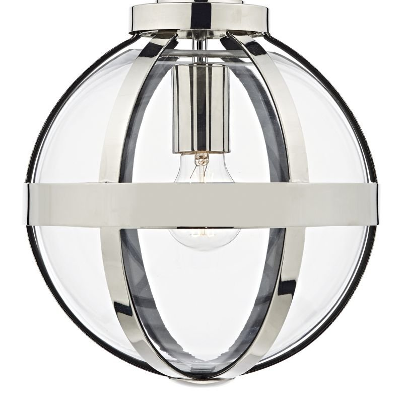 Dar-HEA0138 - Heath - Clear Glass Globe with Polish Nickel Single Pendant