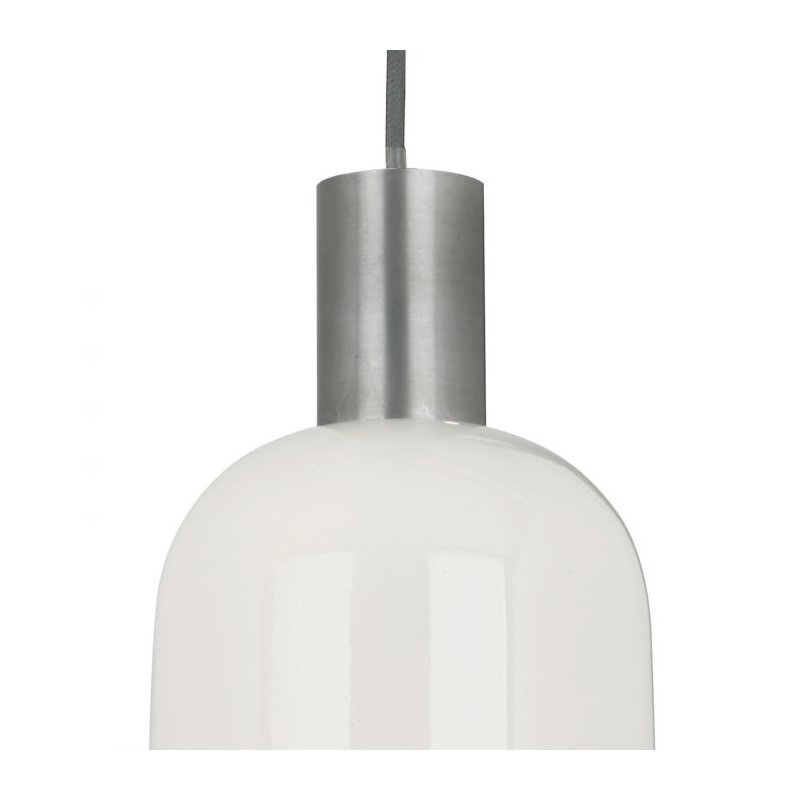 Dar-HES0133 - Hester - Ivory Gloss with Chrome Single Hanging Pendant
