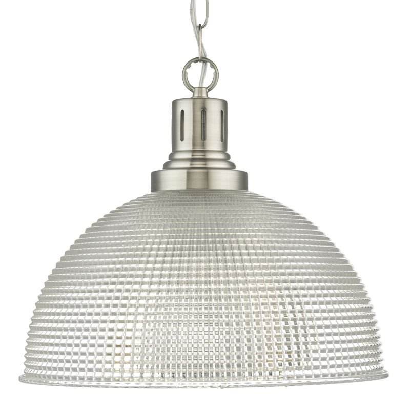 Dar-HOD0146 - Hodges - Textured Clear Glass and Satin Nickel Pendant
