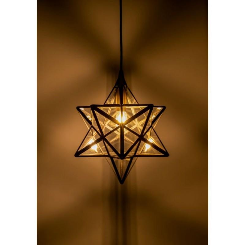 Dar-ILA0175 - Ilario - Small Star Antique Brass with Glass Hanging Pendant