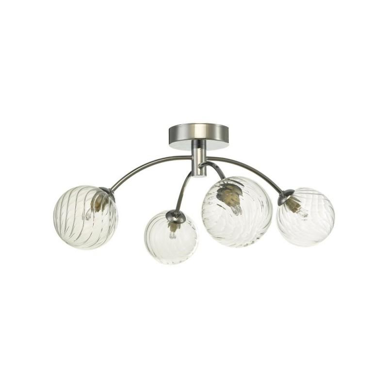 Dar-IZZ0450-03 - Izzy - Twisted Glass & Chrome 4 Light Semi Flush
