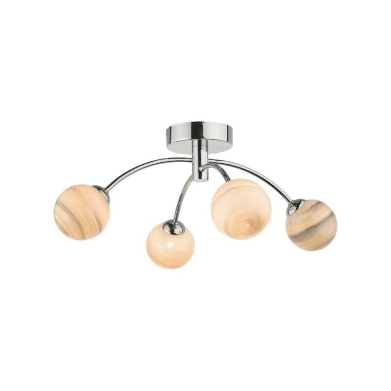 Dar-IZZ0450-07 - Izzy - Marble Glass & Chrome 4 Light Semi-Flush