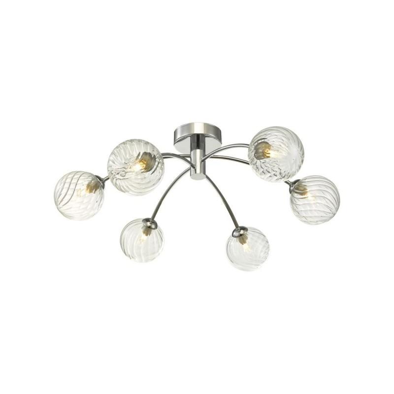 Dar-IZZ0650-03 - Izzy - Twisted Glass & Chrome 6 Light Semi Flush