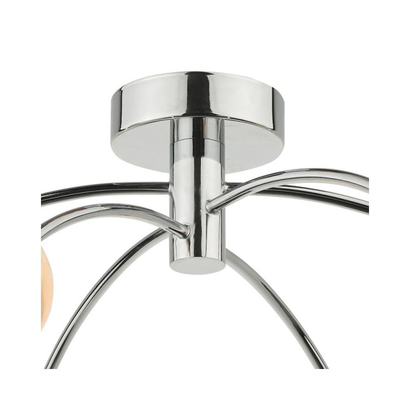 Dar-IZZ0650-07 - Izzy - Marble Glass & Chrome 6 Light Semi-Flush