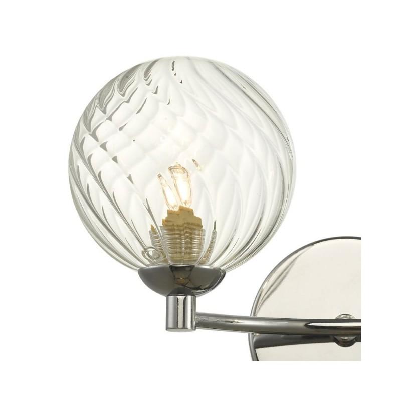 Dar-IZZ0950-03 - Izzy - Twisted Clear Glass & Chrome Twin Wall Lamp