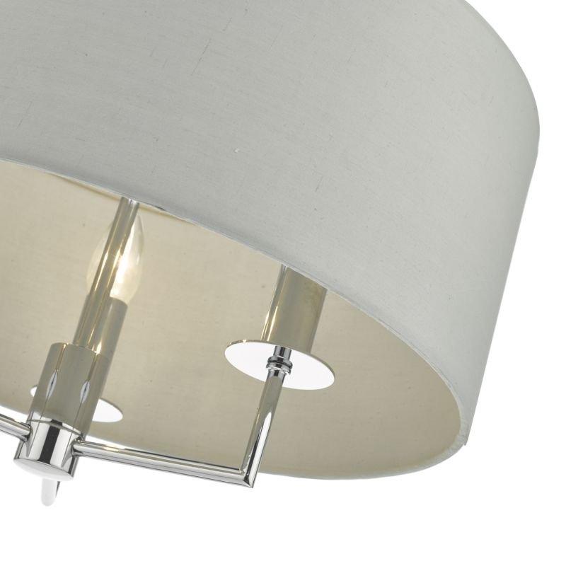 Dar-JAM0339 - Jamelia - Grey Fabric with Polished Chrome 3 Light Hanging Pendant