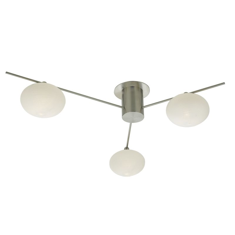 Dar-JAS5346 - Jasper - Frosted Glass with Satin Nickel 3 Light Centre Fitting