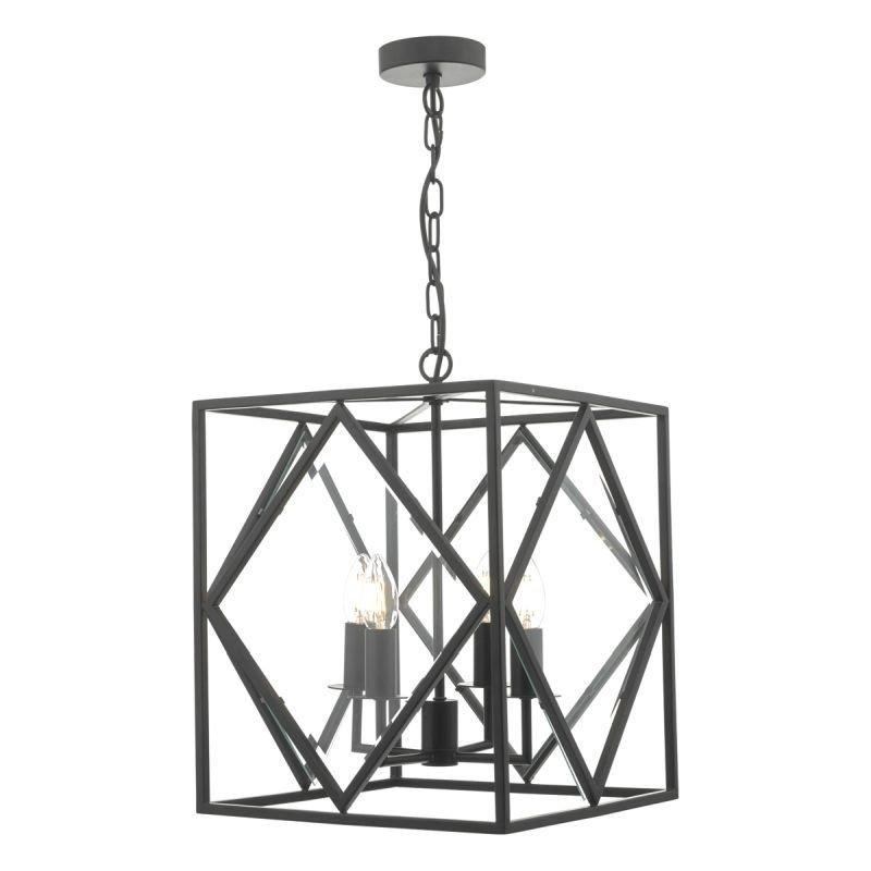 Dar-JEP0422 - Jepsen - Black Geometric Design 4 Light Lantern Pendant