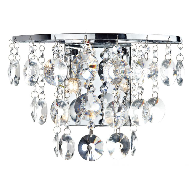 Dar-JES0950 - Jester - Chrome With Clear Droppers 2 Light Wall Lamp