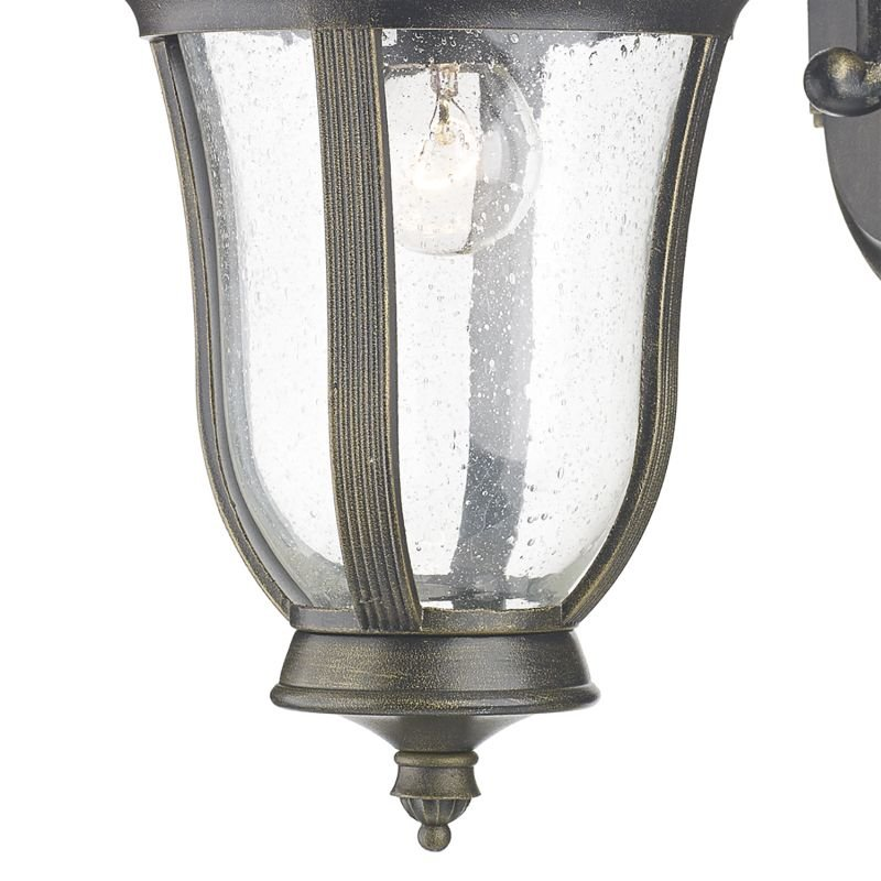 Dar-JOH1635 - Johnson - Black and Gold with Seeded Glass Lantern Wall Lamp