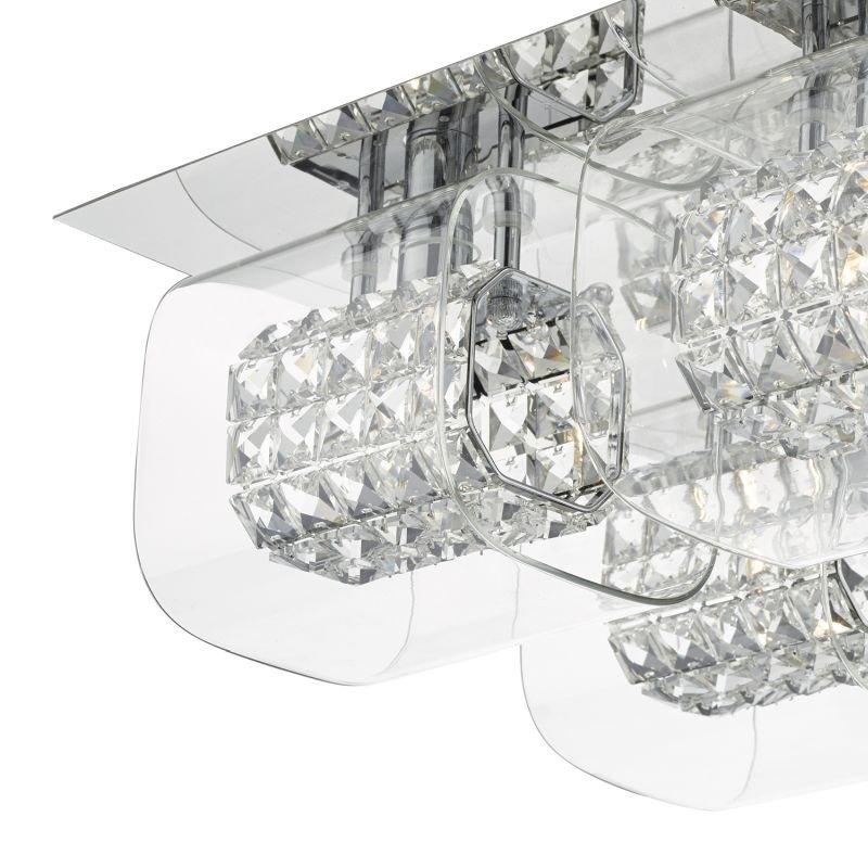 Dar-KAB5050 - Kabuki - Crystal Beads In Clear Glass Shade 4 Light Flush