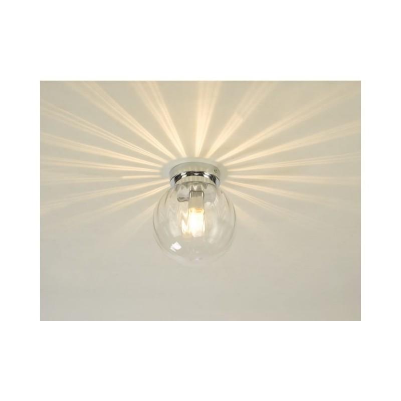 Dar-KAV0150 - Kavi - Bathroom Ribbed Glass & Chrome Ceiling Light