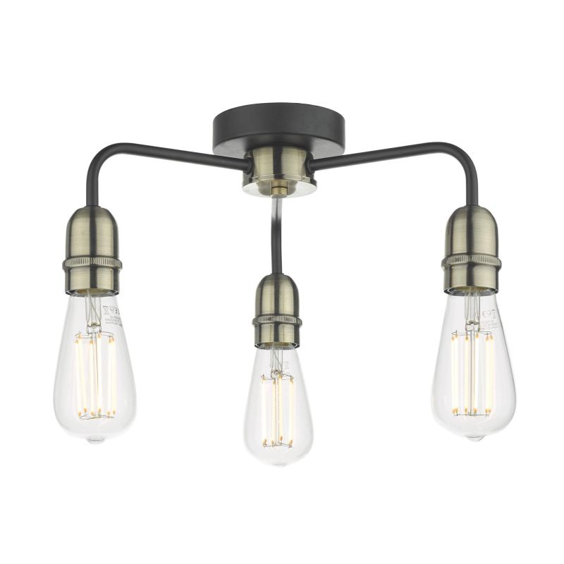 Wisebuys-KIE5322 - Kiefer - Antique Brass with Black 3 Light Semi Flush