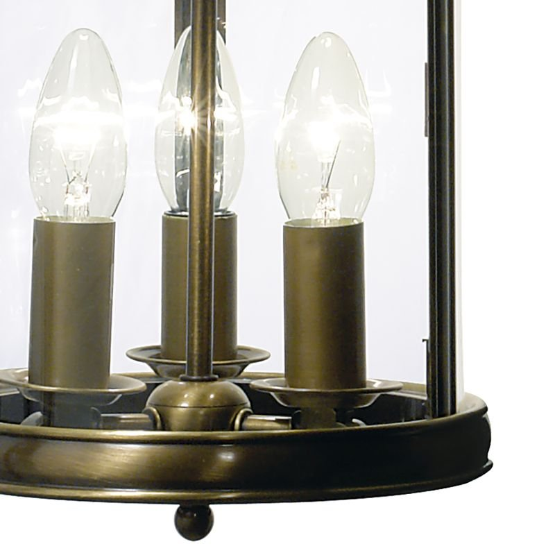 Dar-LAM0375 - Lambeth - Antique Brass and Clear Glass 3 Light Lantern Pendant
