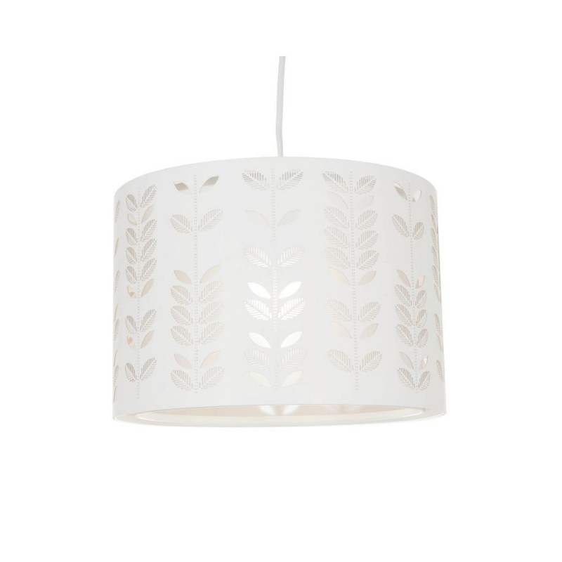 Wisebuys-LAS652-TLS - Laser - White Drum with Leaf Detail Shade for Pendant