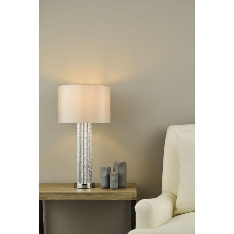 Dar-LAZ4239 - Lazio - Grey Shade with Silver Rods Table Lamp