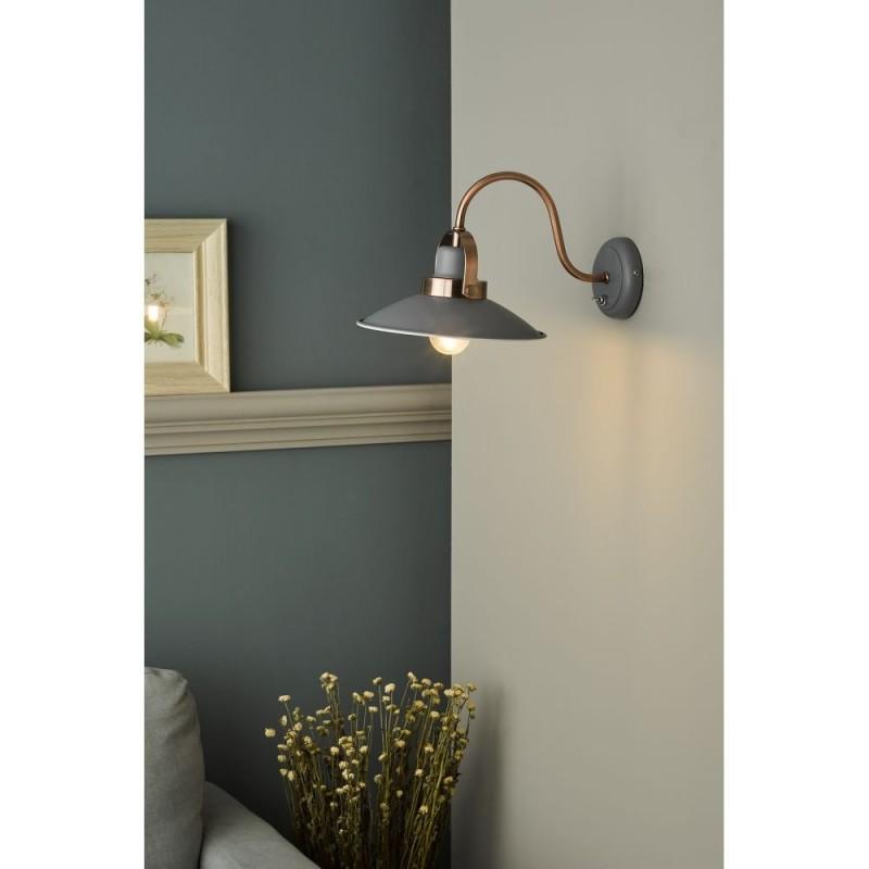 Dar-LID0739 - Liden - Matt Grey & Copper Wall Lamp