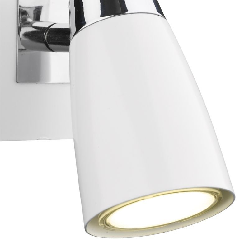 Dar-LOF072 - Loft - White and Polished Chrome Single Spotlights Wall Lamp
