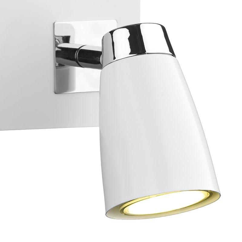Dar-LOF772 - Loft - White and Polished Chrome Double Spotlights Wall Lamp