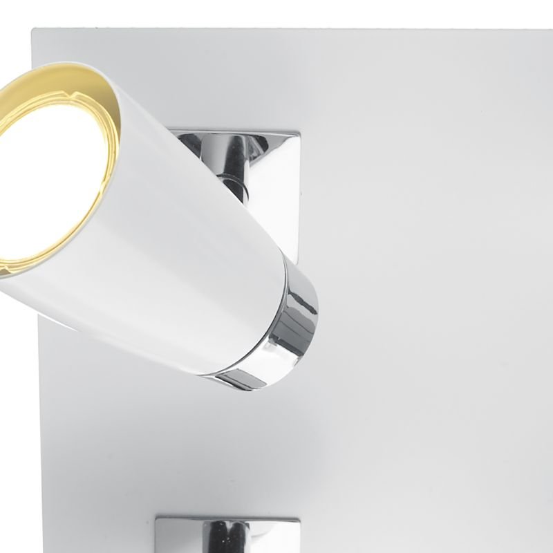 Dar-LOF852 - Loft - White and Polished Chrome 4 Square Plate Spotlights