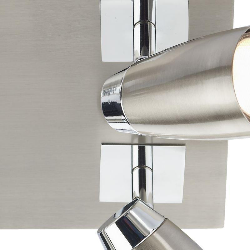 Dar-LOF8546 - Loft - Satin and Polished Chrome 4 Square Plate Spotlights
