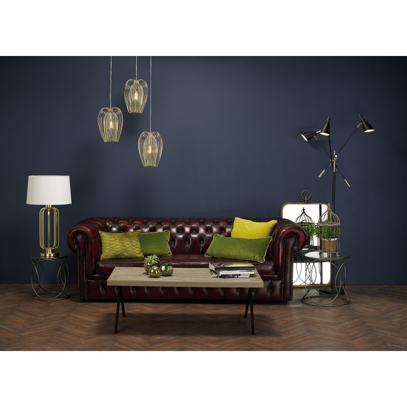 Dar-LUC4241 - Lucie - Natural Linen Shade with Satin Brass Table Lamp