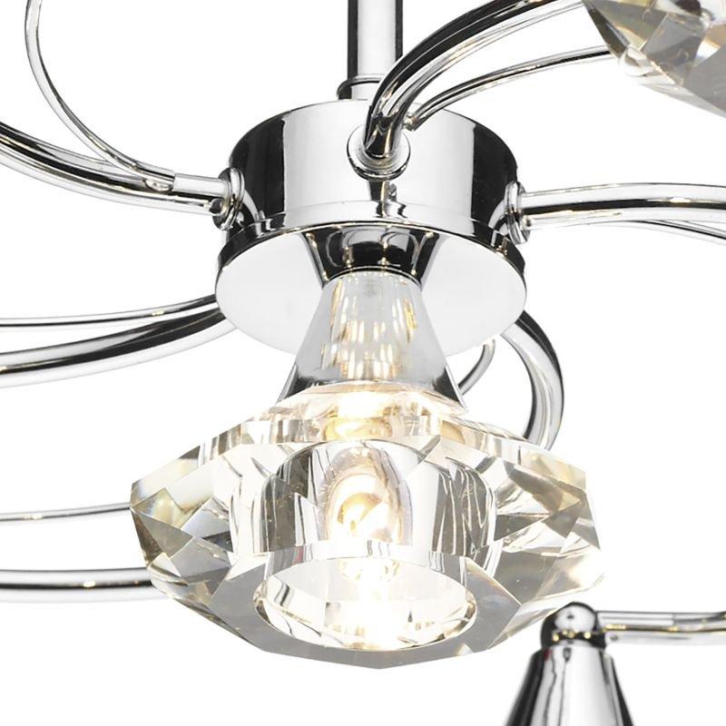 Dar-LUT0650 - Luther -  Decorative Polish Chrome with Crystal 6 Light Semi Flush