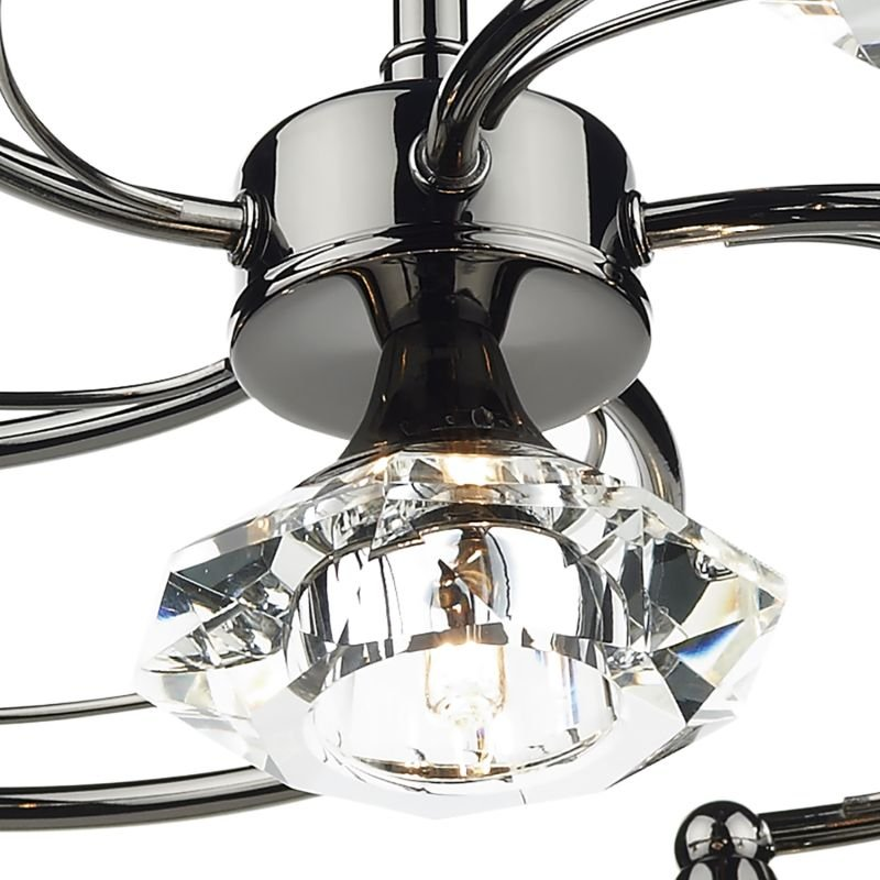 Dar-LUT0667 - Luther - Decorative Black Chrome with Crystal 6 Light Centre Fitting