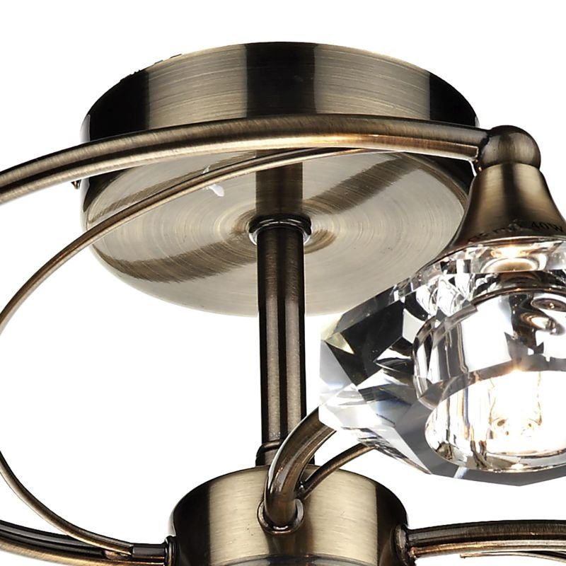 Dar-LUT0675 - Luther -  Decorative Antique Brass with Crystal 6 Light Centre Fitting