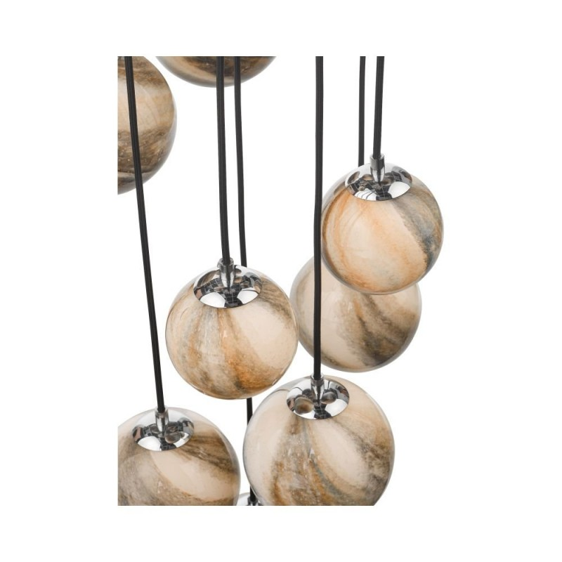 Dar-MIK1250 - Mikara - Marble Glass & Chrome 12 Light Cluster Pendant - 2.5m