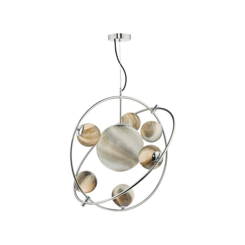 Dar-MIK3450 - Mikara - Marble Glass & Chrome 7 Light Planet Pendant