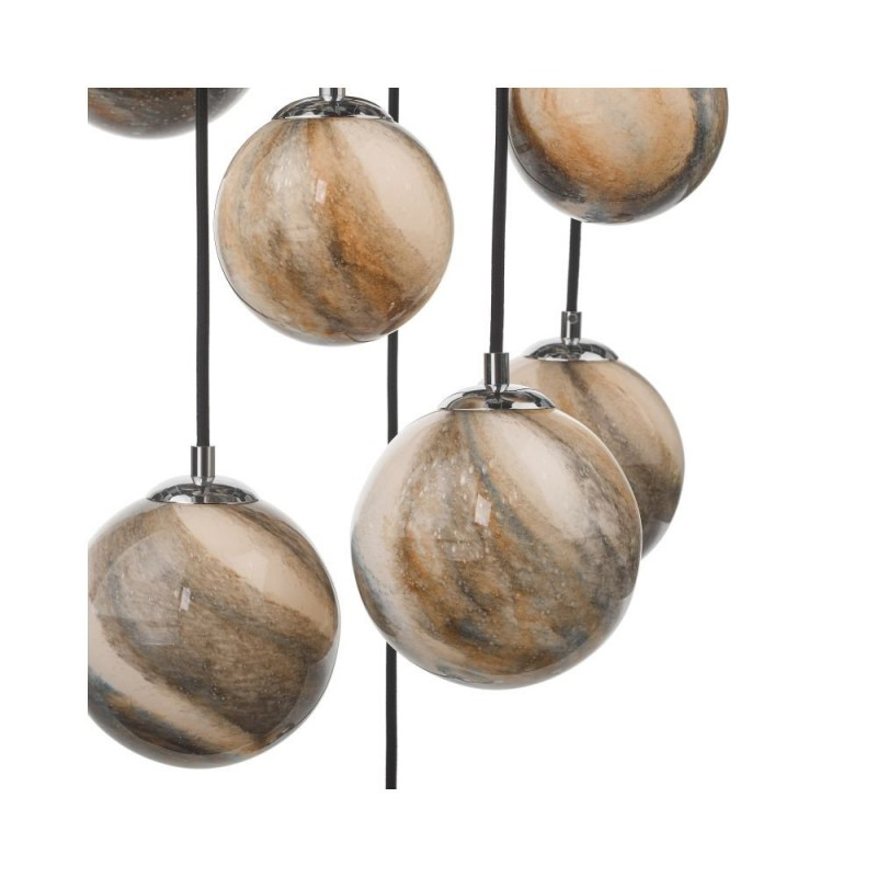 Dar-MIK6350 - Mikara - Marble Glass & Chrome 12 Light Cluster Pendant - 1.5m