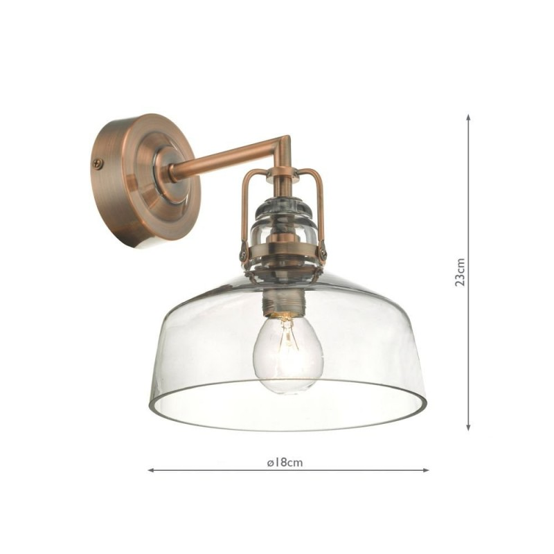 Wisebuys-MIL0764 - Miles - Antique Copper & Smoky Glass Wall Lamp