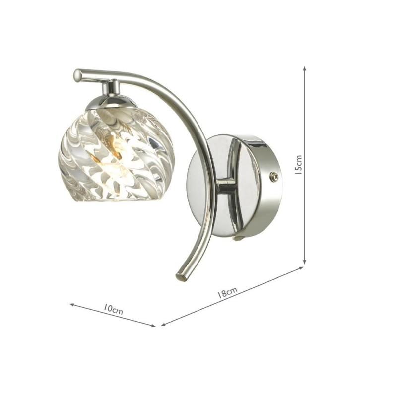 Wisebuys-NAK0750-05 - Nakita - Twisted Glass & Chrome Wall Lamp