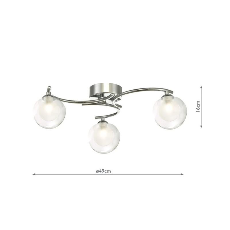 Wisebuys-NAK5350-04 - Nakita - Double Glass & Chrome 3 Light Semi Flush