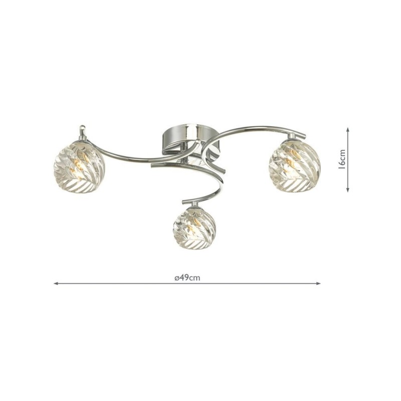 Wisebuys-NAK5350-05 - Nakita - Twisted Glass & Chrome 3 Light Semi Flush