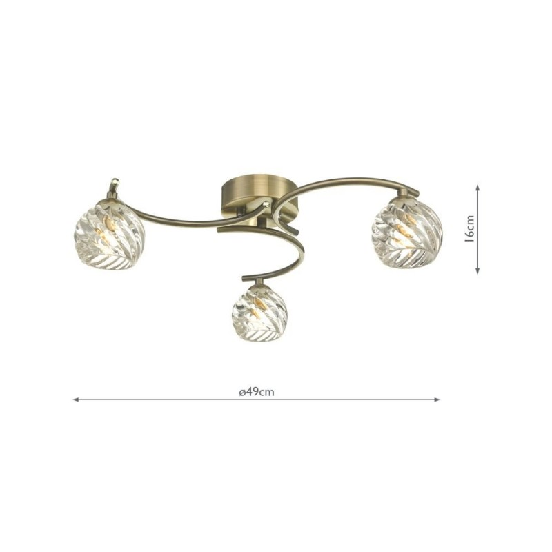 Wisebuys-NAK5375-05 - Nakita - Twisted Glass & Antique Brass 3 Light Semi Flush