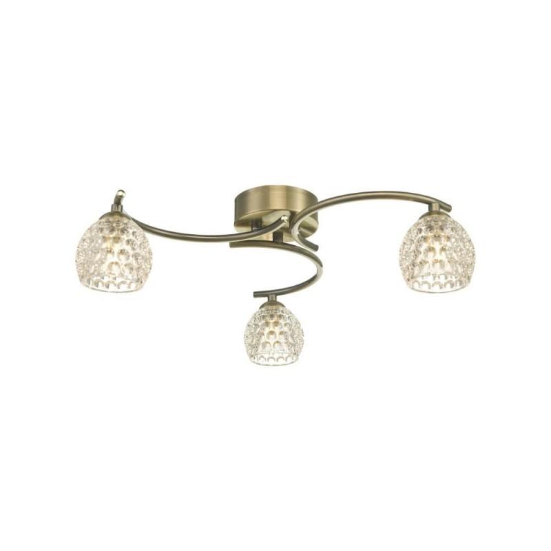 Wisebuys-NAK5375-06 - Nakita - Dimpled Glass & Antique Brass 3 Light Semi Flush