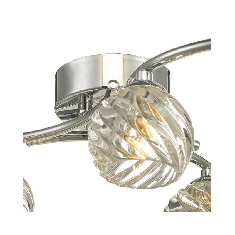 Wisebuys-NAK6450-05 - Nakita - Twisted Glass & Chrome 6 Light Semi Flush