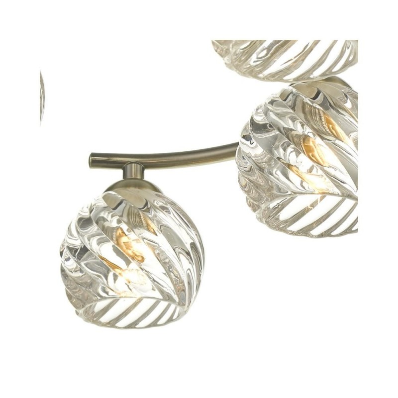 Wisebuys-NAK6475-05 - Nakita - Twisted Glass & Antique Brass 6 Light Semi Flush