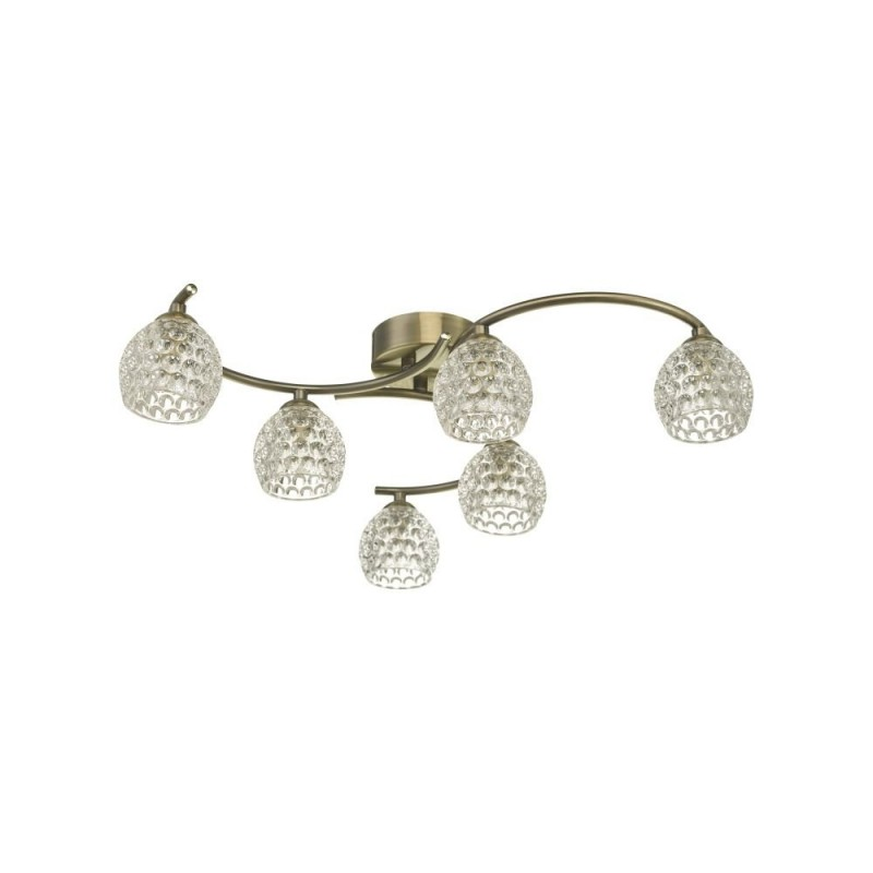 Wisebuys-NAK6475-06 - Nakita - Dimpled Glass & Antique Brass 6 Light Semi Flush