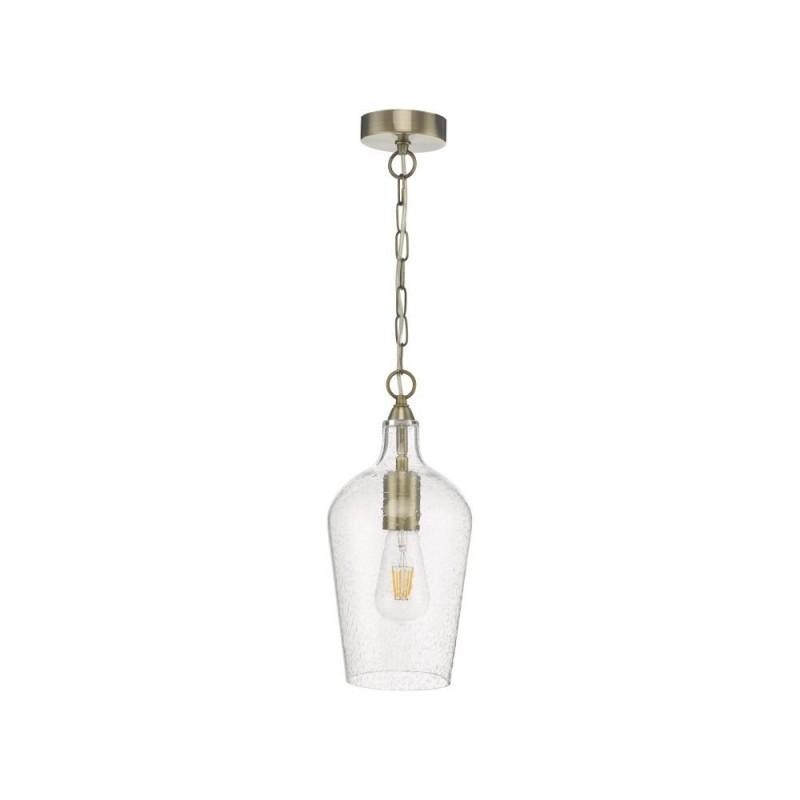 Dar-NID0175 - Nida - Seeded Glass & Antique Brass Single Pendant
